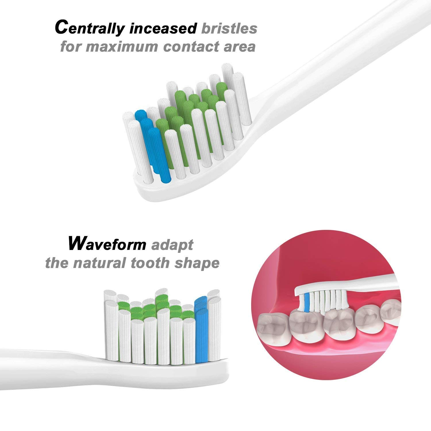 Replacement Toothbrush Heads for Philips Sonicare DiamondClean, FlexCare, HealthyWhite, Essence+, EasyClean Electric Brush Heads - 2x4 Multi Pack of 8
