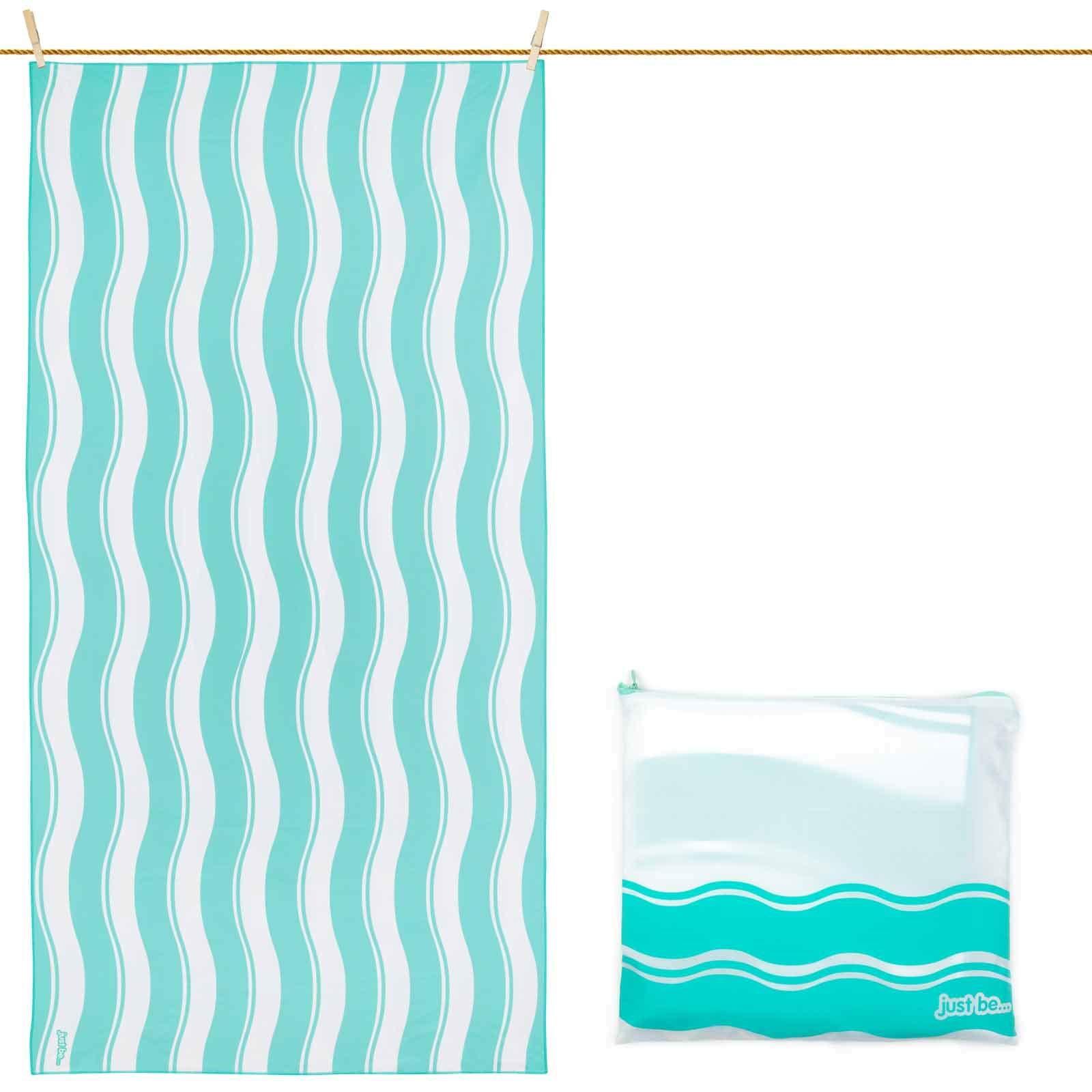 Toalla De Microfibra para Playa Diseño Ondas - Verde XXL 200