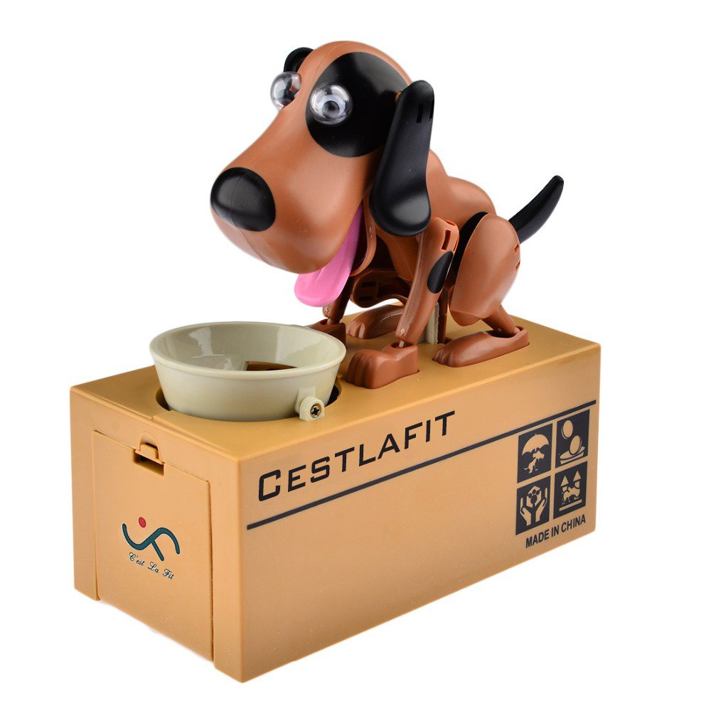 Cestlafit Cute Puppy Hungry Eating Dog Coin Bank, Doggy Coin Bank, Dog Piggy Bank, Coin Munching Toy Money Box, Brown