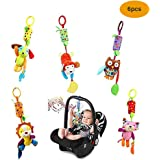 Pram Toys Pushchair Stroller Cot Crib Toys Baby Rattle Bell with Teether, Soft Animal 6 Packs Activity Hanging Toys for Infant Toddler Baby Shower Gift(Morbuy)