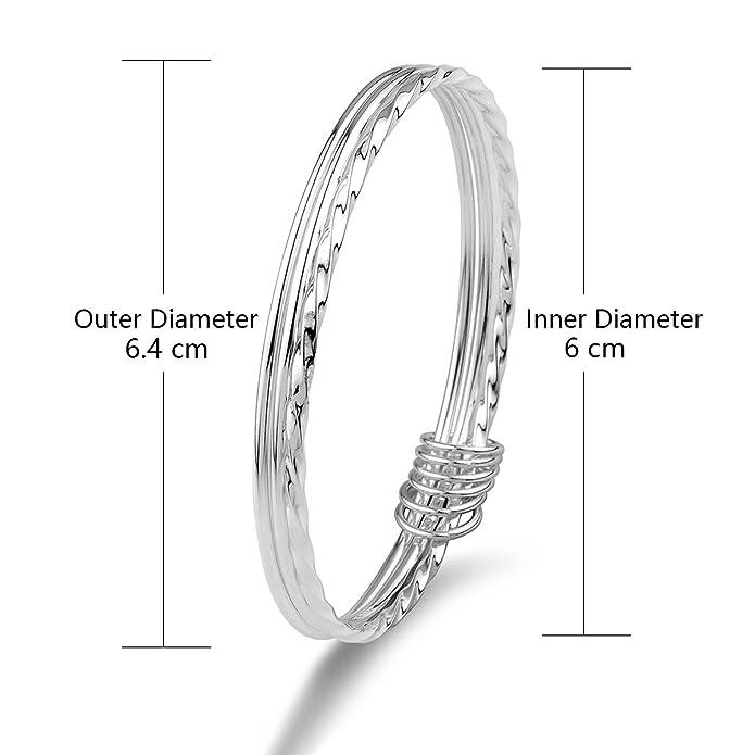 Merdia 925 Sterling Silver Bangle Bracelets Fashionable Three Interlocking for Girls and Women (6cm 20g) avwc0ww3AY