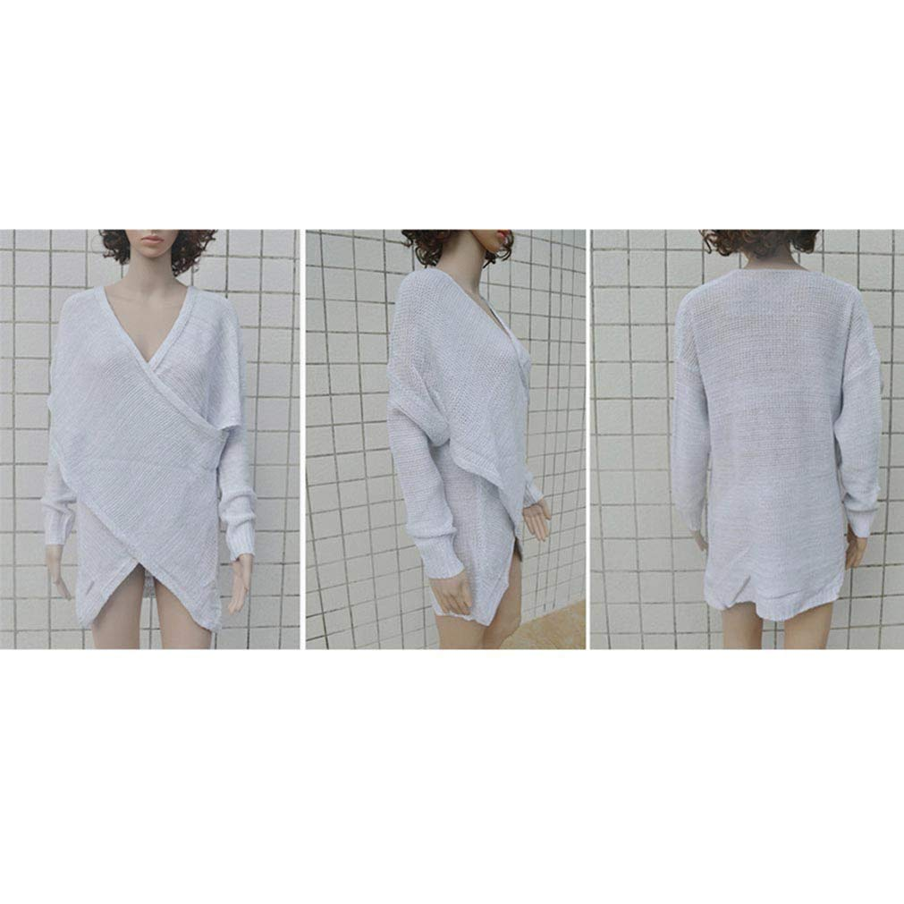 Qixuan Womens Casual Front Cross Wrap Long Sleeve Loose Knit Pullover Blouse