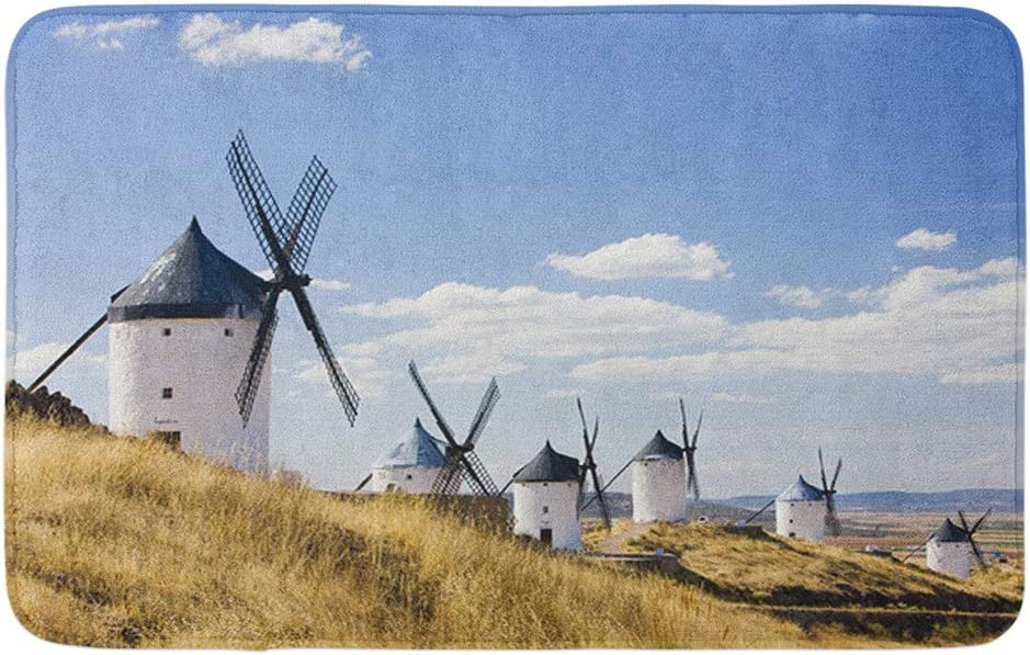 "Adowyee Bath Mat Landmark Windmills Consuegra Castile La Mancha Spain Architecture Building Cozy Bathroom Decor Bath Rug with Non Slip Backing 20"" X 30"""