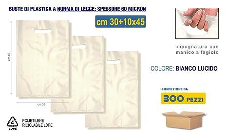 6a7689b5dc Buste di plastica con Manico a Fagiolo cm 30+10x45 | 300 pezzi, Spessore