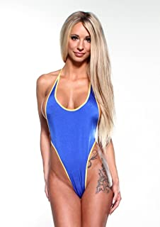 24069ce286944 Solid Electric Blue Sexy Monokini One Piece Micro String Thong Bikini w/  Yellow