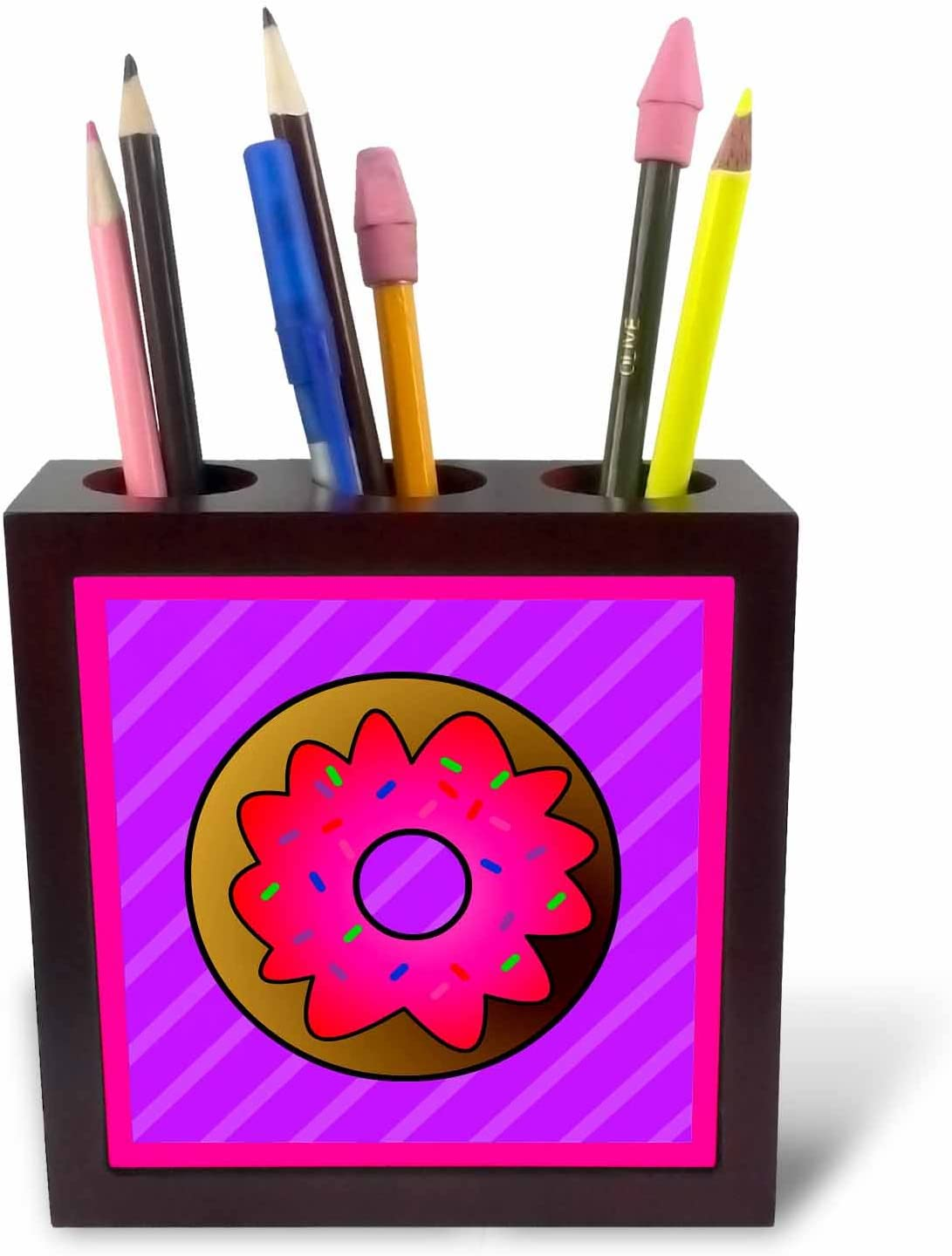 3dRose ph/_43173/_1 Cute Donut with Pink Frosting and Sprinkles-Kawaii Sweets-Purple-Tile Pen Holder 5-Inch
