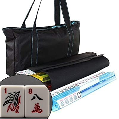 We pay your sales tax American Mahjong Set Waterproof Black Nylon wtih Blue Stitches Bag 4 Color Pushers/Racks Western Mahjongg: Toys & Games
