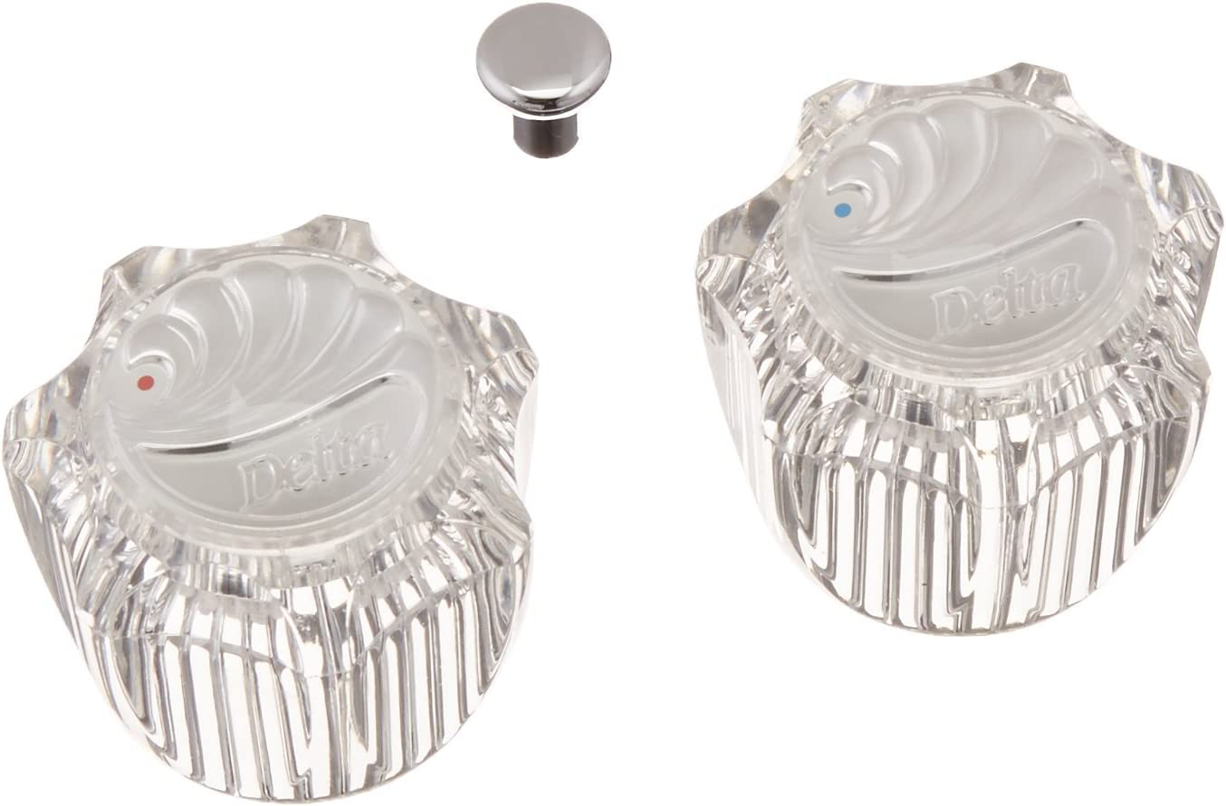 DELTA H61 Replacement Clear Acrylic Knob 2 Handle Kit Garden Tub w// Chrome Caps
