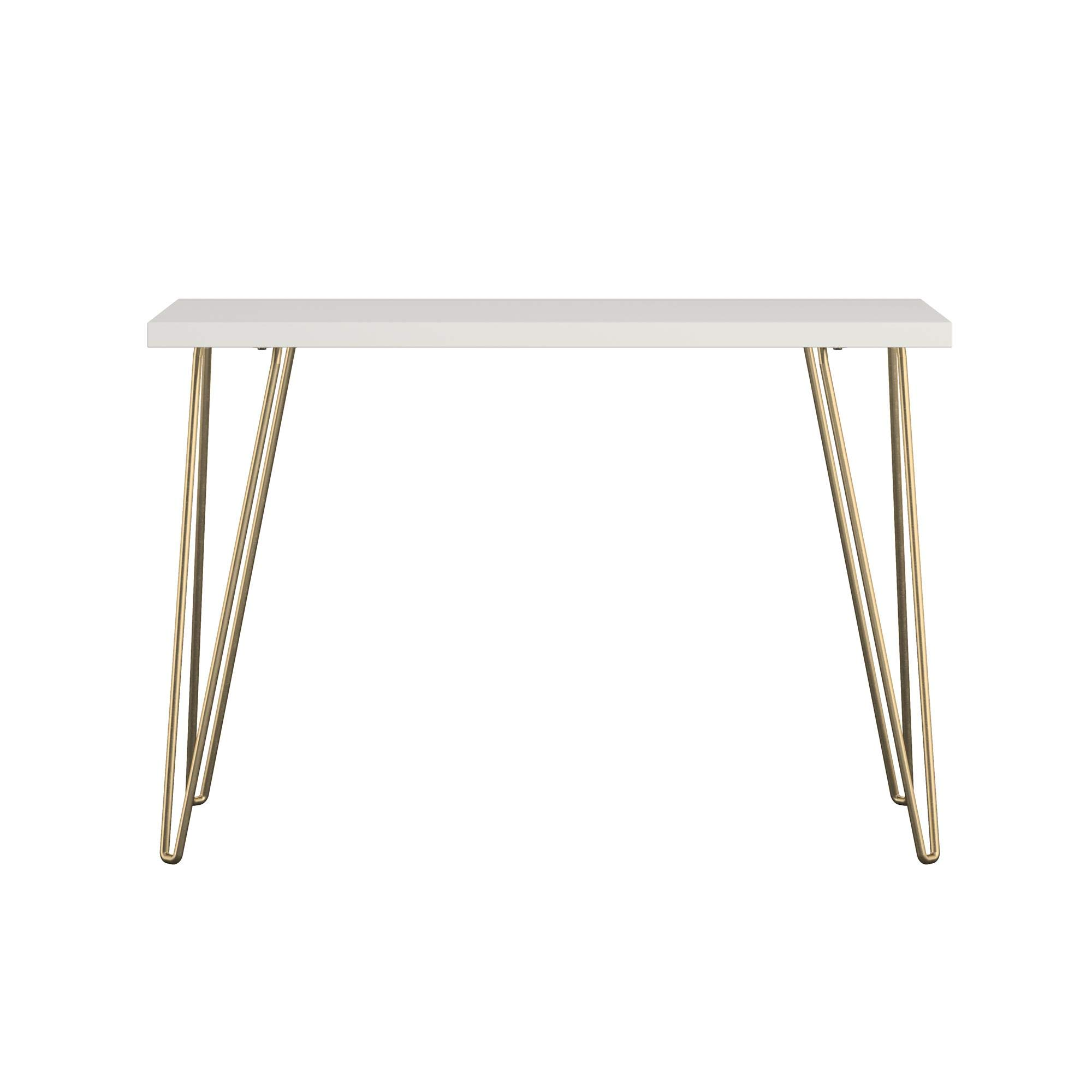 AmazonBasics Retro Hairpin Compact Computer Desk - Solid White with Matte Gold Legs by AmazonBasics (Image #3)