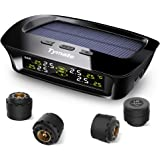 Tymate Solar Power TPMS Tire Pressure Monitoring System, with 4 External Sensors Real-time Displays 4 Tires' Pressure & Temperature for Car (0-6 BAR/0-87 PSI)