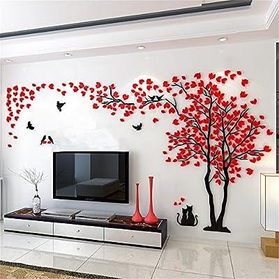 Sdtdia Warm Romantic Couple Tree Wall Stickers 3D Acrylic High-Brightness Stickers DIY Handmade Family Activities Room Luxury Decoration