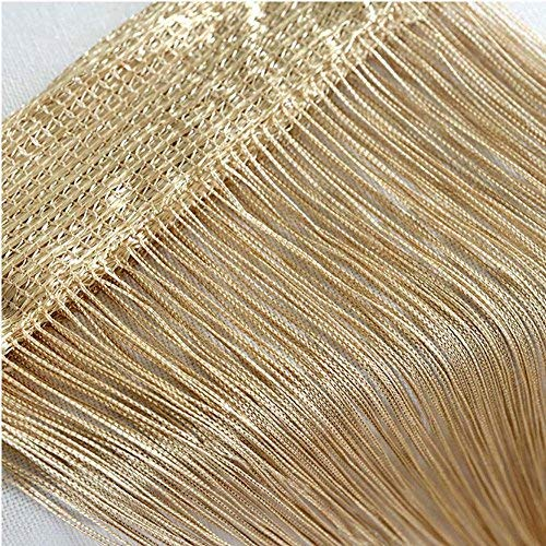 Door String Curtain, Wall Panel Fringe Window Room Divider Blind, Home Patio Bedroom Decorative Tassel Screen Ribbon Strings Strip Silver Thread Screen for Wedding Restaurant Parts Party (Champagne)