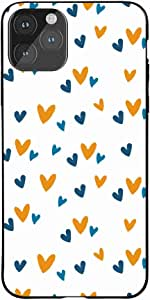 Okteq Case for iPhone 11 Pro Shock Absorbing PC TPU Full Body Drop Protection Cover matte printed - orange blue small hearts By Okteq
