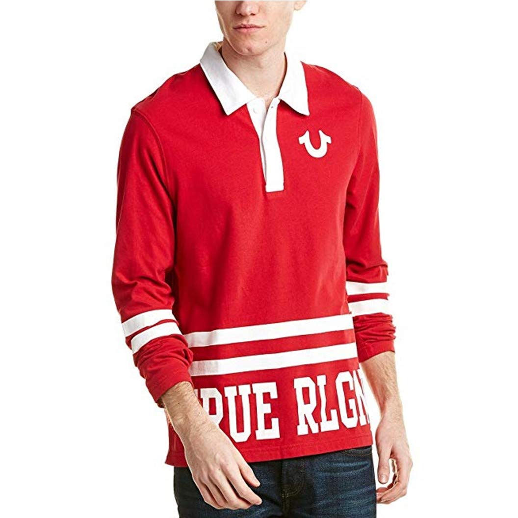 True Religion Mens Team Rlgn 2 Long Sleeve Rugby Polo Shirt
