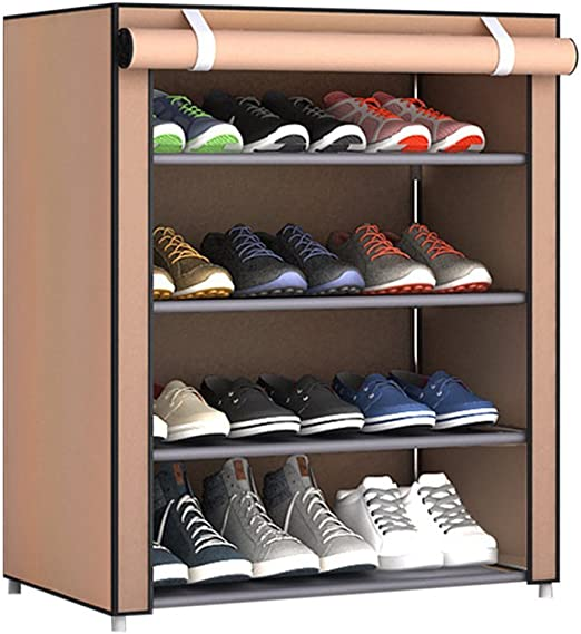 Shoe Racks Home 5 Tier 4 Grids Shoe Cabinet Tower Storage Organizer Shoe Rack Stand With Waterproof Oxford Fabric Dustproof Cover 60 X 30 X 72cm Red