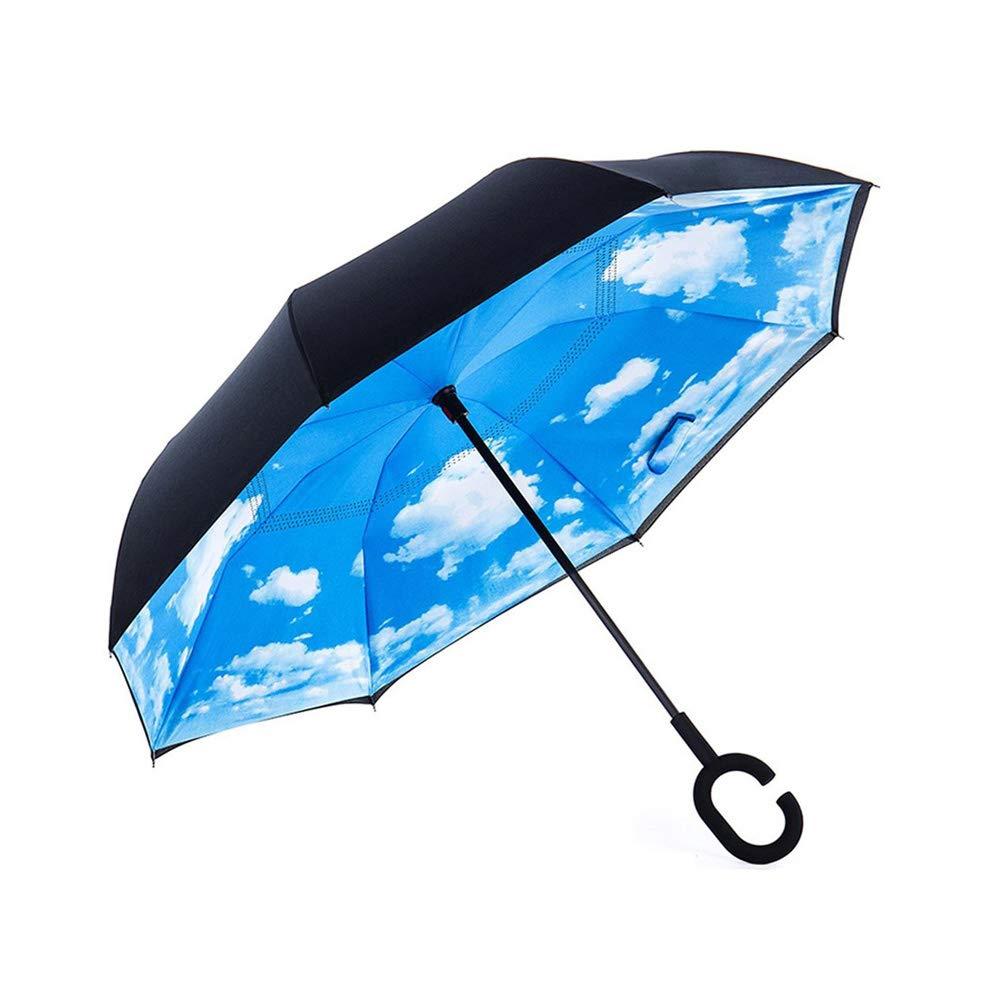 Windproof Large Inverted Umbrella, Double Layer UV Protaction Reverse Umbrella, Reversible Rain Umbrella for Women Men with C Handle