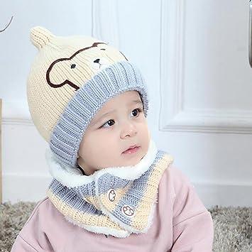 YINGER Chapeaux + écharpe, Mignonne Hiver Bébé Chapeau à capuche écharpe  Bonnet en tricot Bambin b9cb9f5a093