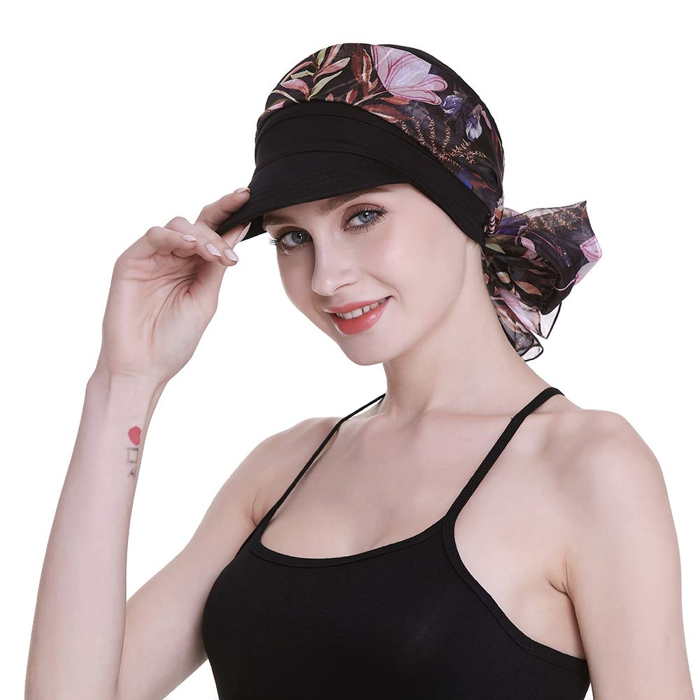 FocusCare Headwear for Women with Cancer Alopecia Cowboy Cap Hair Loss Turbans with Scarves Black