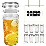 FRUITEAM 24 oz Mason Jars with Lids, Quilted Crystal Jars- Set of 8, Glass Canning Jars Ideal for Fruit & Vegetable Slices, P