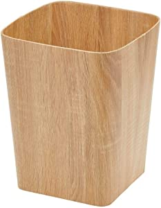 mDesign Square Trash Can Wastebasket, Garbage Container Bin - for Bathrooms, Powder Rooms, Kitchens, Home Offices - Natural/Tan Wood Print