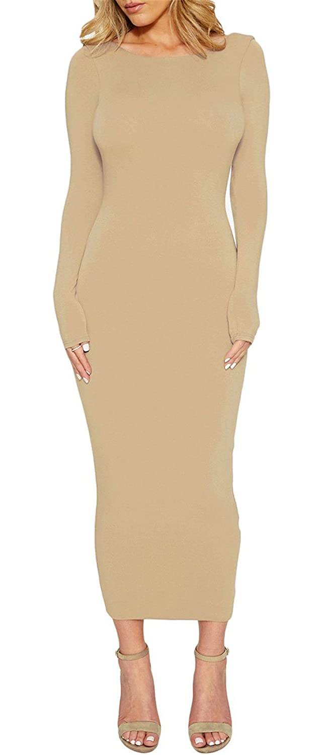 50f18814073 Arctic Cubic Long Sleeve Backless Low Back Open Back Long Maxi Bodycon Dress  at Amazon Women s Clothing store