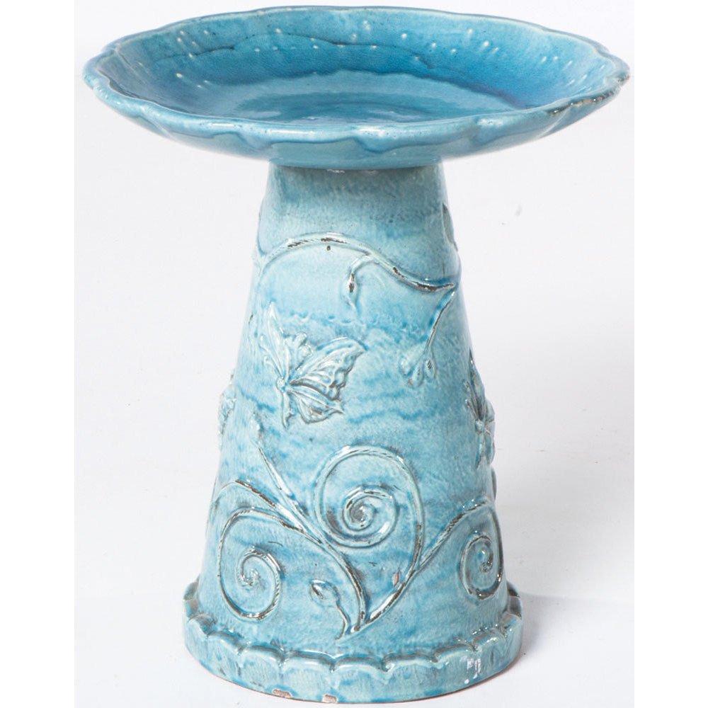 Home Jardin Ceramic Bird Bath - Seafoam