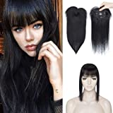 100% Real Human Hair Topper with Bangs Mono Base Crown Topper Hair Piece Clip in on Hair Toppers Straight Middle Part…