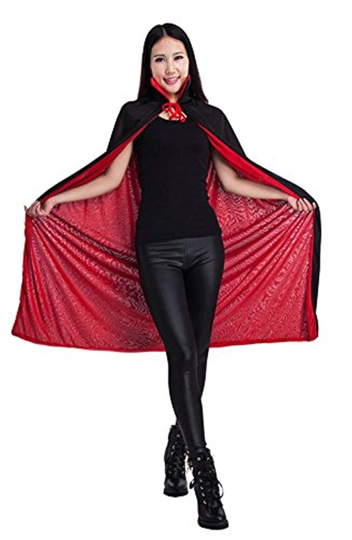 Halloween Umhang Schwarz und Rot Halloween Kleidung für Erwachsene Damen Herren Kinder Halloween Kostüm Unisex für Karneval Fasching Cosplay Halloween Umhang aus Stoff Horror mit Kragen 2 Seiten