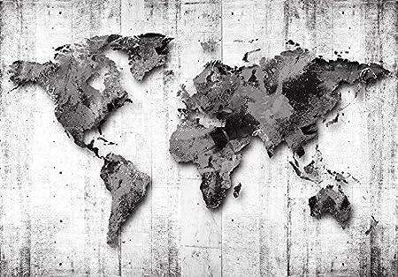 245x175 cm carte da parati -mappa del mondo concrete k-A-0033-a-b carta da parati audoadesiva murando Fotomurali adesivi carta da parati moderna fotomurale