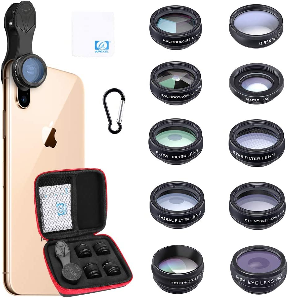Zwini Cell Phone Camera Lens Kit 10 in 1Wide Angle/&Macro Lens+Fisheye Lens+Telephoto Lens+Kaleidoscope//CPL//Flow//Radial//Star Filter+Bluetooth Shutter for iPhone Samsung Huawei