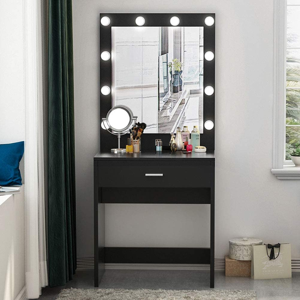 Amazon Com Tribesigns Vanity Set With Lighted Mirror Makeup Vanity Dressing Table Dresser Desk With Large Drawer For Bedroom Black 10 Cool Led Bulbs Furniture Decor