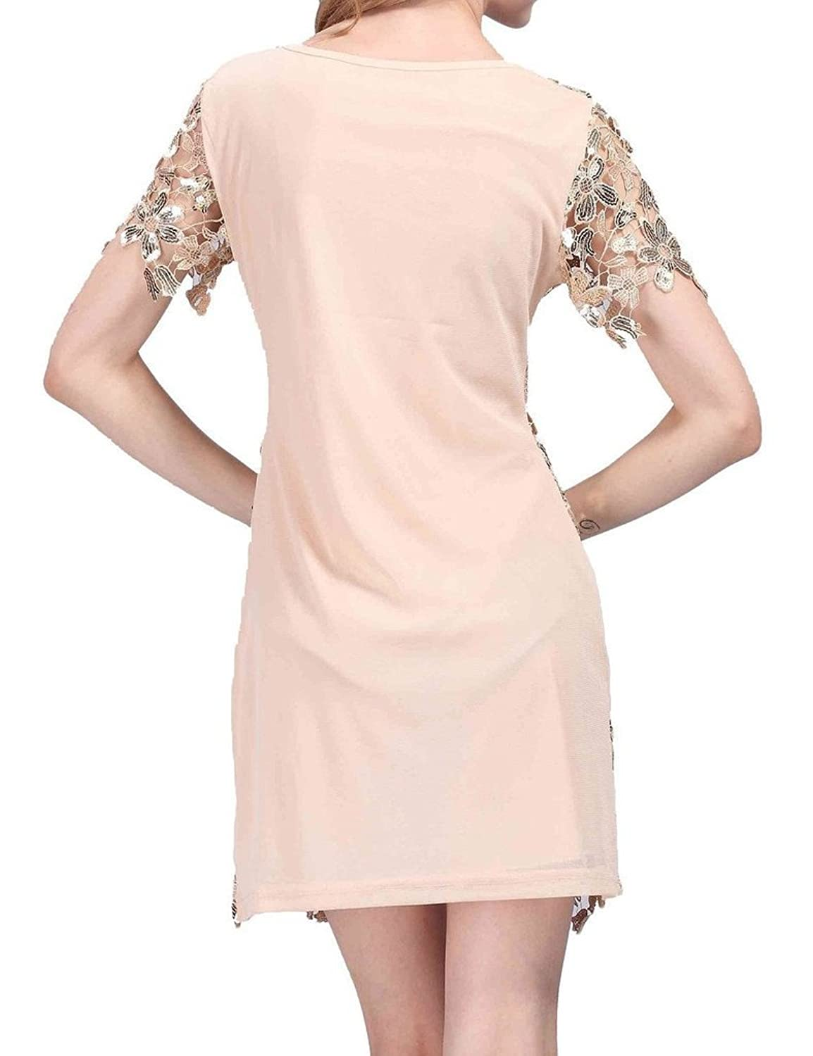 Hblld Short Sleeves Flower Sequin Cocktail Party Prom Dress Ball Gowns Beige