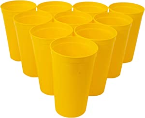 CSBD Stadium 22 oz. Plastic Cups, 10 Pack, Blank Reusable Drink Tumblers for Parties, Events, Marketing, Weddings, DIY Projects or BBQ Picnics, No BPA (Yellow)