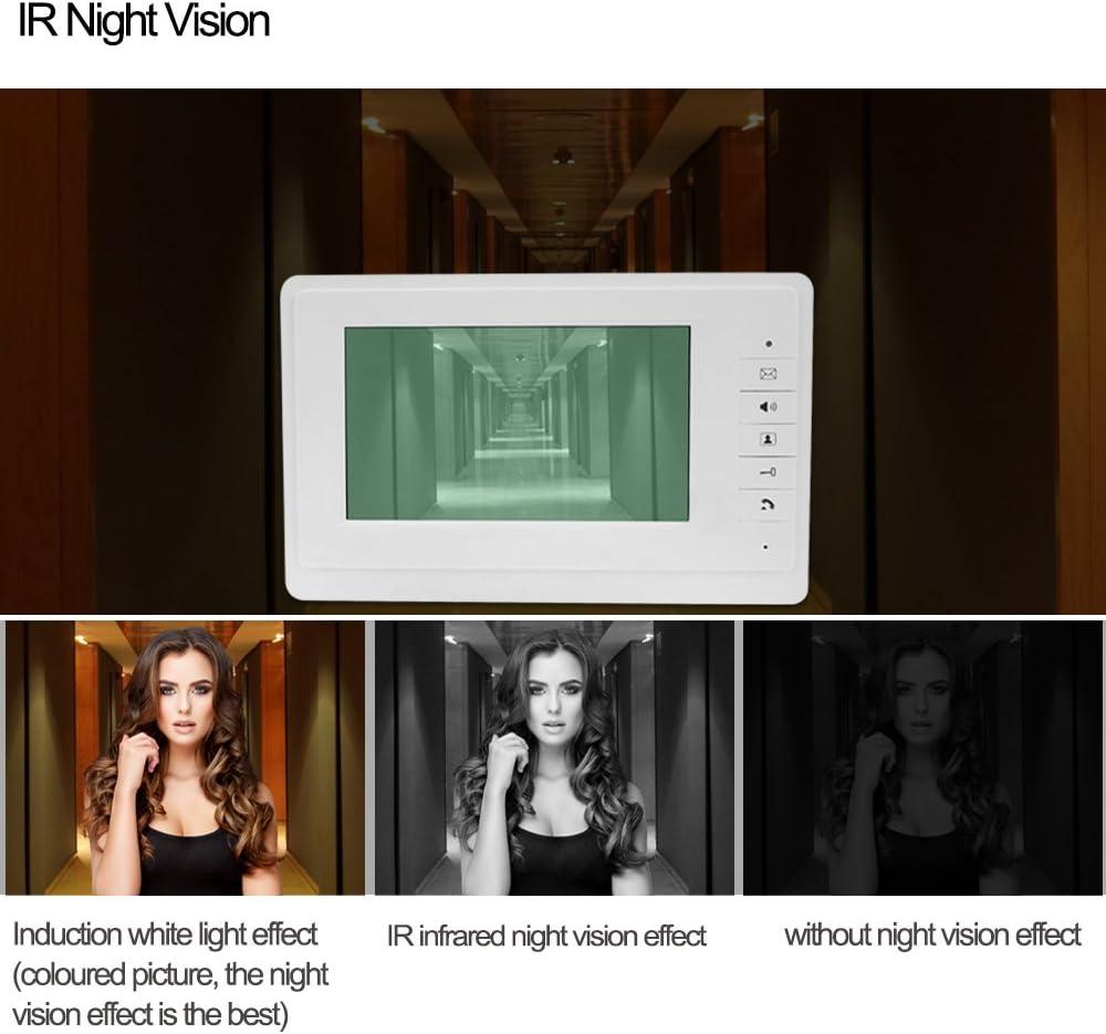 HFeng 7  LCD Color Con Cable Video portero puerta sistema 700TVL Night Vision Camera Timbre Con m/últiples 3 apartamentos//Home