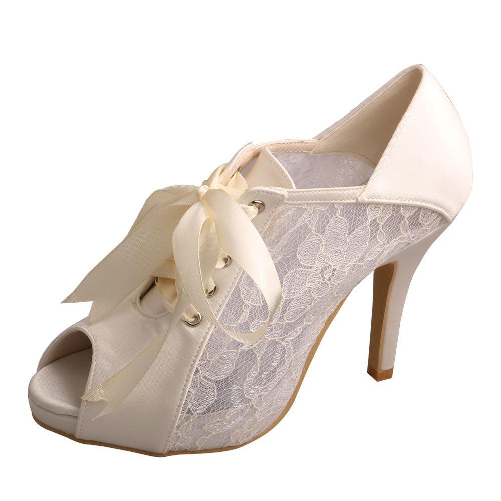 Wedopus MW719 Women's Peep Toe Lace-up Boots High Heel Lace Platform Wedding Bridal Pumps Shoes Size 7 Ivory