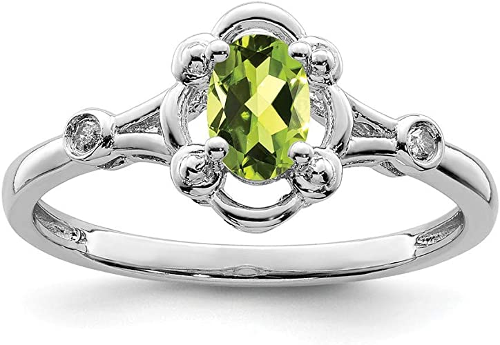 .02cttw Peridot and Diamond Ring Mia Diamonds 925 Sterling Silver Solid