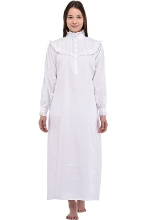 Cotton Lane Old Fashioned White Victorian Cotton Nightdress  Amazon.co.uk   Clothing 0bb053129