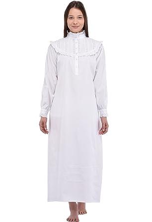 Cotton Lane Old Fashioned White Victorian Cotton Nightdress  Amazon ... d21c5f662a