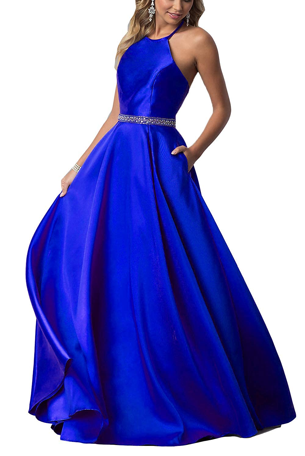 Royal bluee YMSHA Women's Halter Prom Dresses with Pockets Long Satin Crystal Evening Formal Gown O38PM