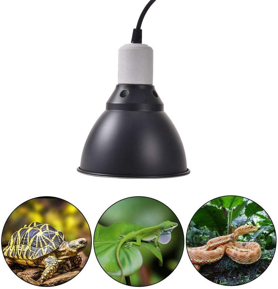 perfecti Lámpara para Tortuga UVA/UVB Soporte De Bombilla De 300 W E27 Focos para Terrarios para Reptiles, Terraza, Pollos, Mascotas (Bombilla No Incluida)