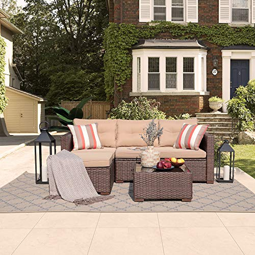 (SUNSITT Outdoor Furniture Sectional Sofa (4 Piece Set) All Weather Brown Wicker with Beige Seat Cushions, Ottoman & Glass Coffee Table | Patio, Backyard, Pool)