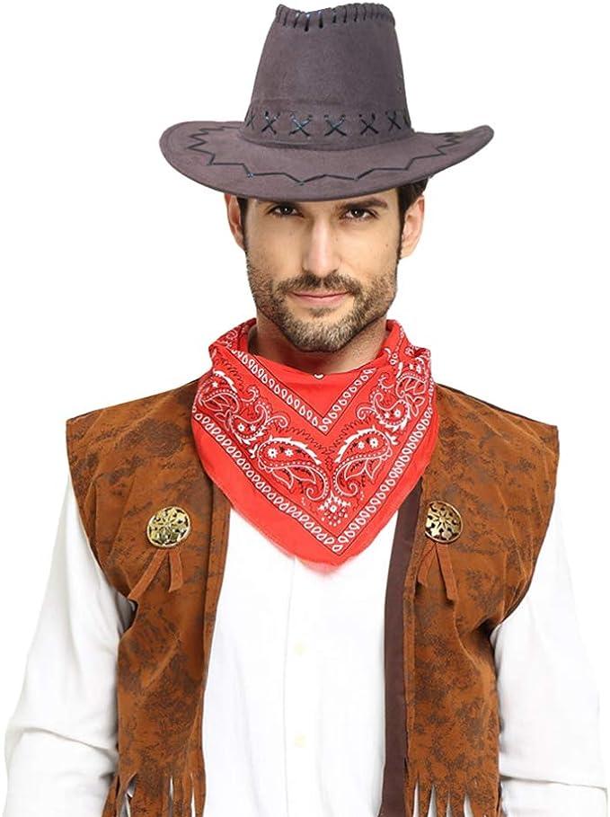 Amosfun sombrero de vaquero chaleco disfraz sheriff disfraz ...