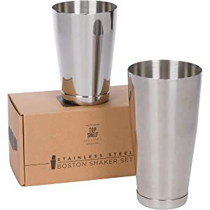 Premium Weighted Cocktail Shaker Set: Two-Piece Pro Boston Shaker Set. 18oz & 28oz Martini Drink Shaker made from Stainless Steel 304