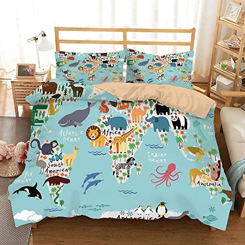 Kids Khaki Duvet Cover Set Full/Queen Size,Educational World Map Africa Camel America Lama Alligator Ocean Australia Koala Print Decorative,Decorative 3 Piece Bedding Set with 2 Pillow Shams,