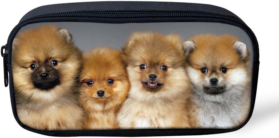 HUGS IDEA 3D Dog Print Pencil Case Pen Stationery Pouch School Office Supplies Coin Bag