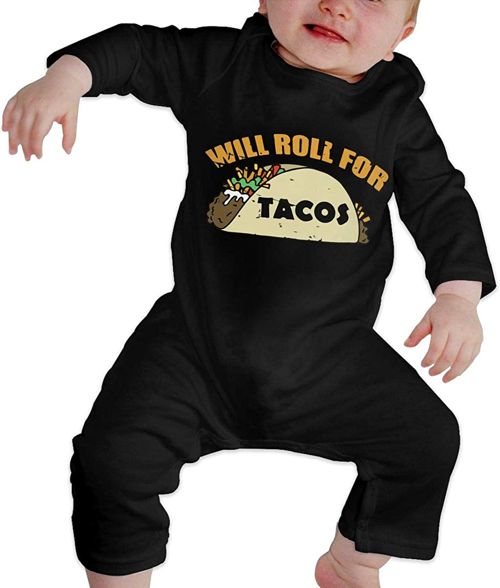 Will Roll for Tacos Jiu Jitsu Organic One-Piece Bodysuits Coverall Outfits BKNGDG8Q Newborn Baby Boy Girl Romper Jumpsuit
