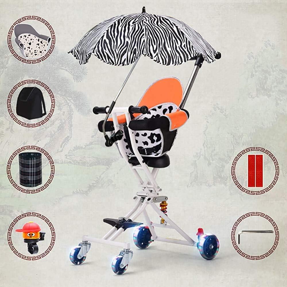SYXL 4 Individuales Plegables Triciclo Plegable Coche de niños Plegable portátil 1-3 años para Evitar Que se vuelque,White