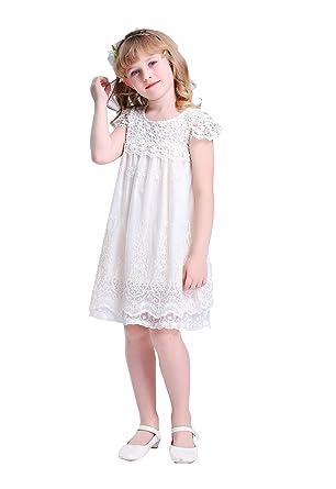 680ea1b6661 Bow Dream Flower Girl s Dress Vintage Lace Off White  Amazon.com.au ...