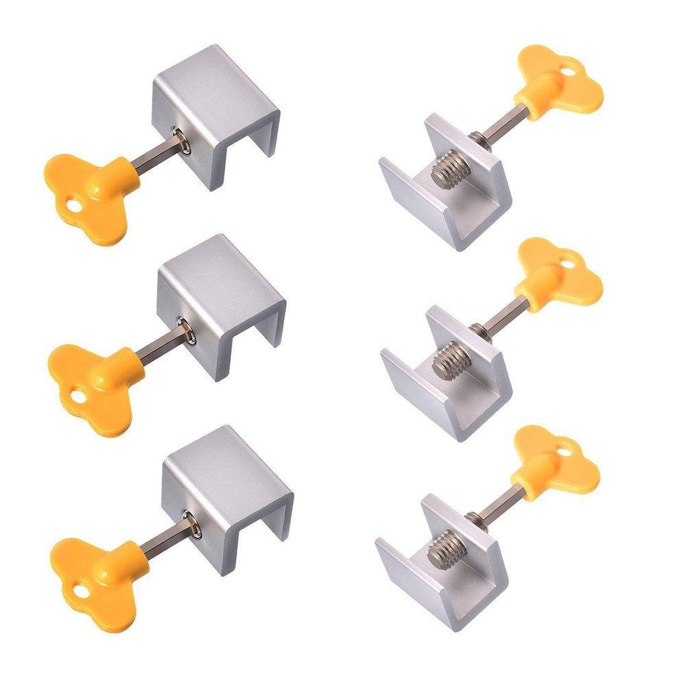 6 Pieces Window Stops for Security, Adjustable Sliding Window Locks Aluminum Alloy Door Frame Security Locks