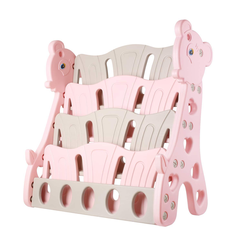 Bamny Giraffa libreria per Bambini con 4 vani portaoggetti, Scaffale Porta Libri Stabile per Bambini, 80 x 38 x 86 cm (Verde) BMY